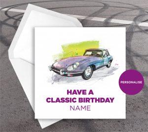 Jaguar E-Type, personalised birthday card