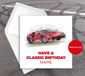 Lamborghini Countach, personalised birthday card