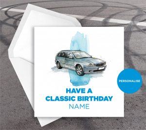 Jaguar X-Type, personalised birthday card