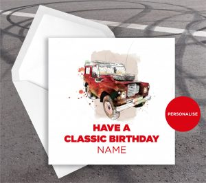 Land Rover, personalised birthday card