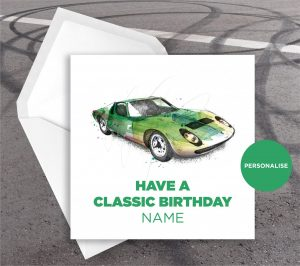 Lamborghini Miura, personalised birthday card