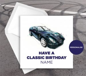 Ferrari California, personalised birthday card