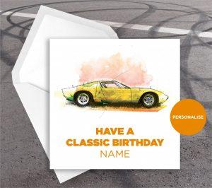 Lamborghini Muira, personalised birthday card