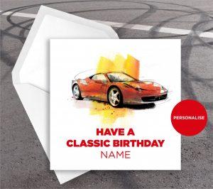 Ferrari 488 Pista, personalised birthday card