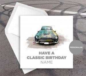 Aston Marton DB5, personalised birthday card