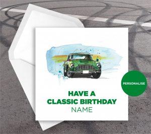 Aston Martin DB5, personalised birthday card