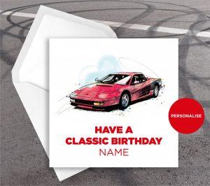 Ferrari Redhead, personalised birthday card