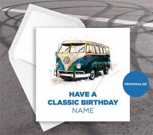 Volkswagen Campervan, personalised birthday card