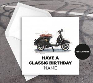 Vespa, Black & Tan, personalised birthday card