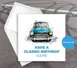 Mini, personalised birthday card