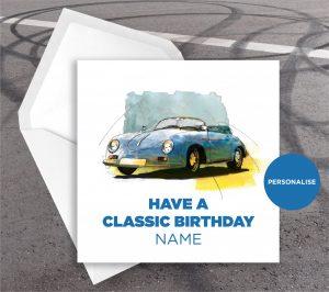 Porsche 356 Speedster, personalised birthday card