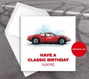 Ferrari Dino, personalised birthday card