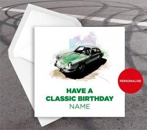 Porsche 911, personalised birthday card