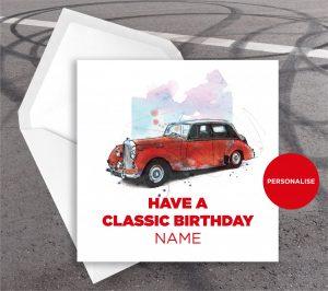 Bentley, R Type, personalised birthday card