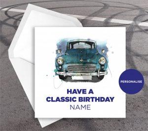 Morris Minor, personalised birthday card