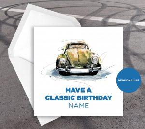 Volkswagen Beetle, personalised birthday card