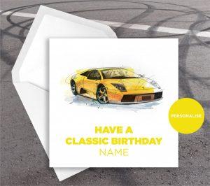 Lamborghini Murcielago, personalised birthday card