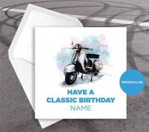 Vespa, GS, personalised birthday card