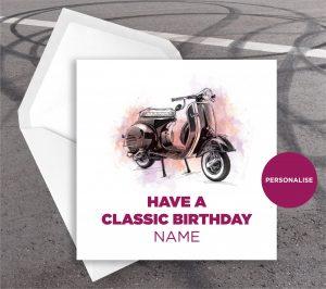 Vespa, VNA, personalised birthday card
