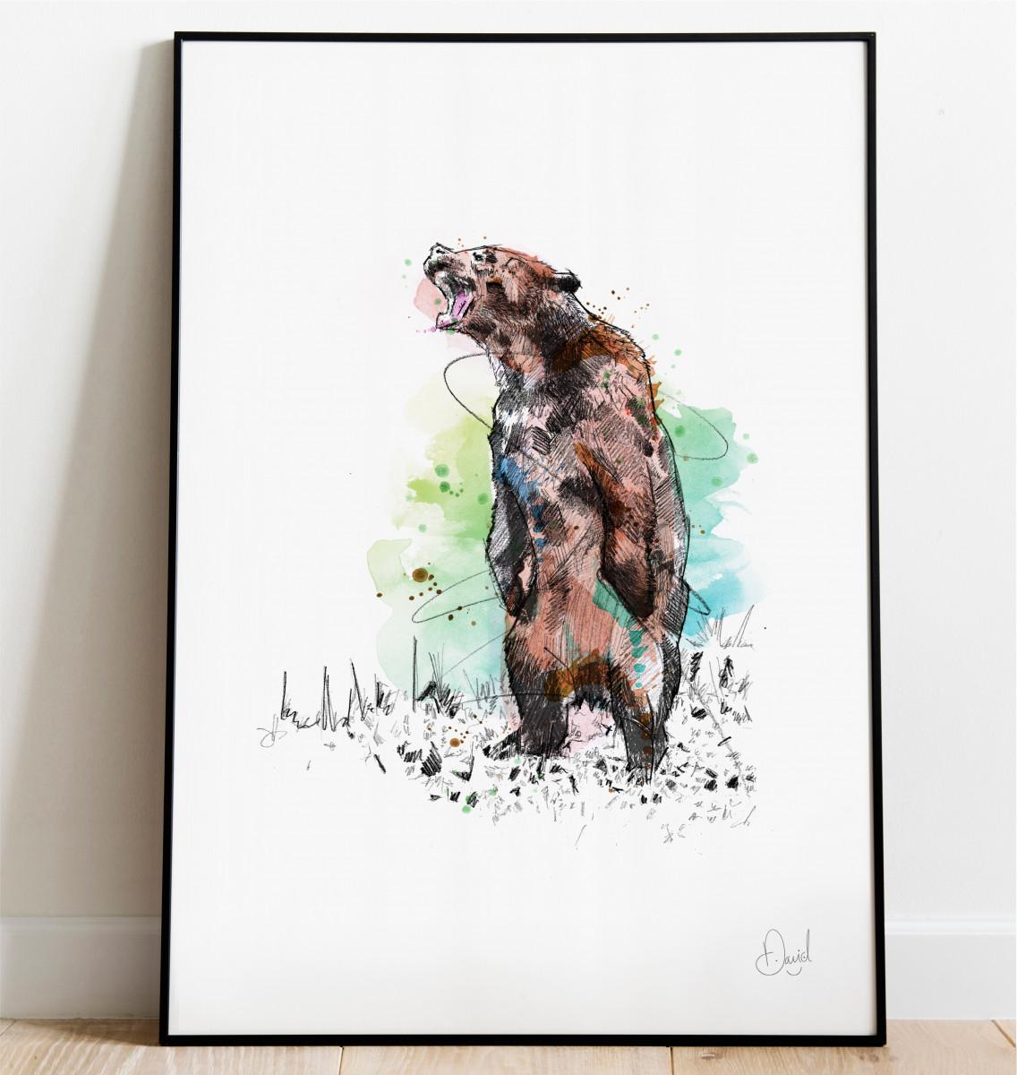 0313 Dm Grizzly Bear Bearly Able Print Frame Port Web