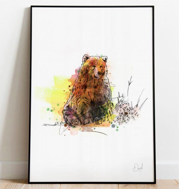 0316 Dm Grizzly Bear Grin And Bear It Print Frame Port Web