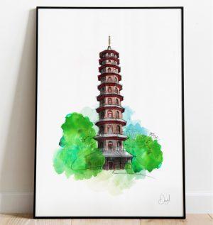 London - Kew Gardens, The Great Pagoda art print