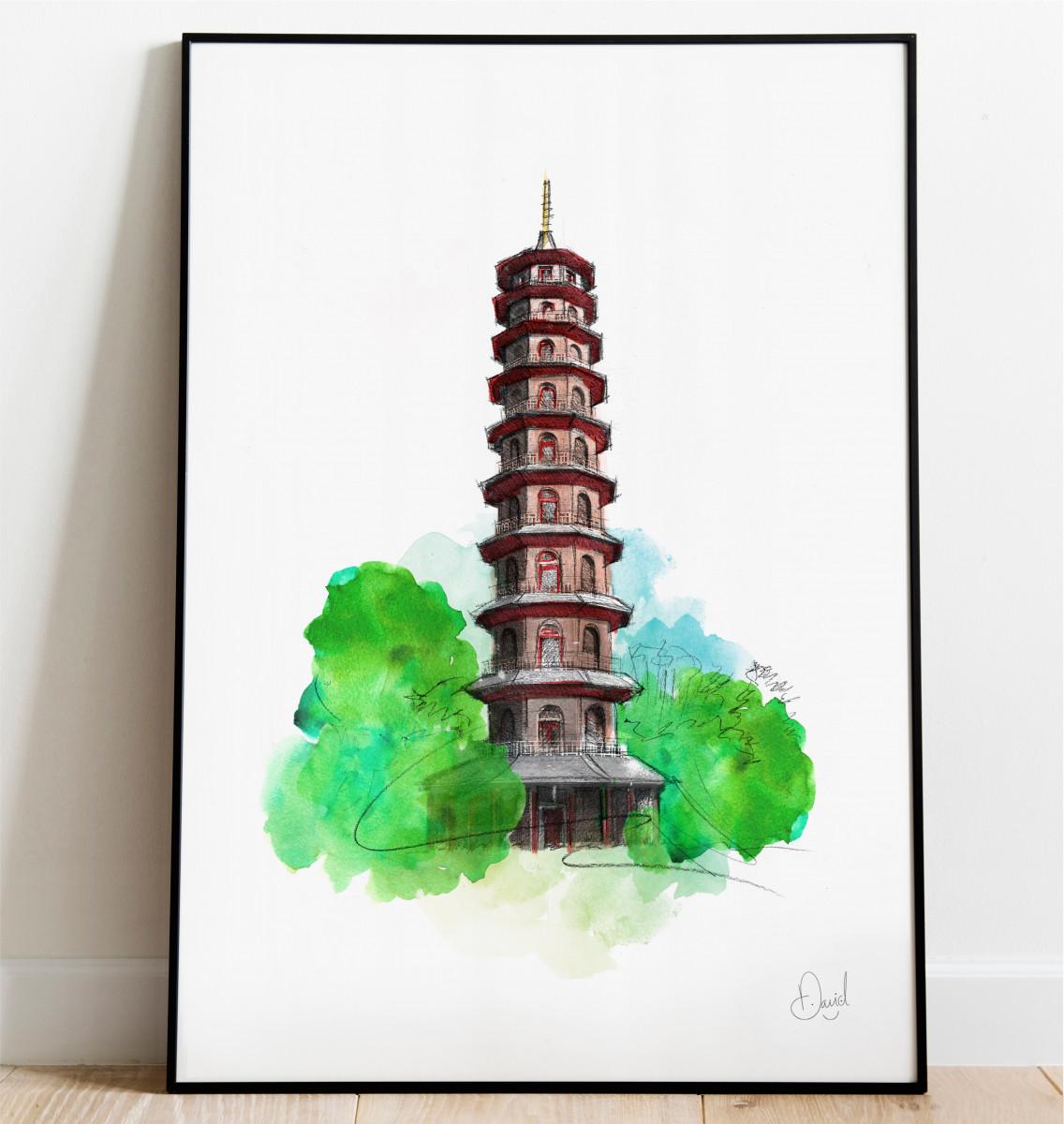 0320 Dm Kew Gardens Grand Pagoda Print Frame Port Web