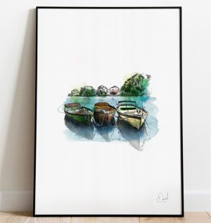 London - Rowing Boats on the Thames art print