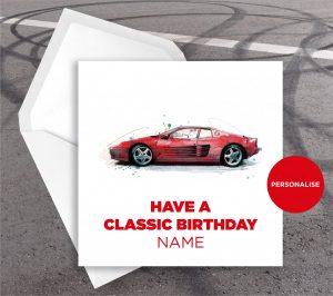 Ferrari Testarossa, personalised birthday card