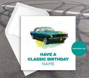Ford Mustang, personalised birthday card