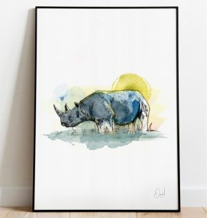 Rhi no go, Rhino art print