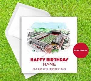 Aberdeen, Pittodrie, personalised birthday card