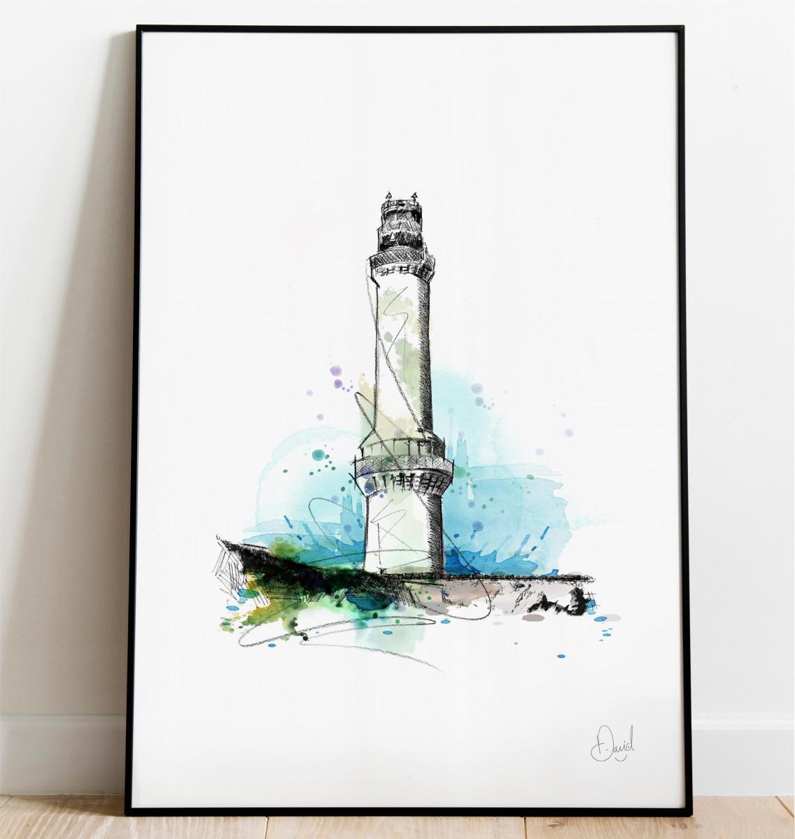 0334 Aberdeen Girdle Ness Lighthouse Print Frame Port Web
